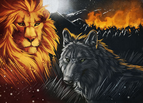 The wolf and the glaring lion
